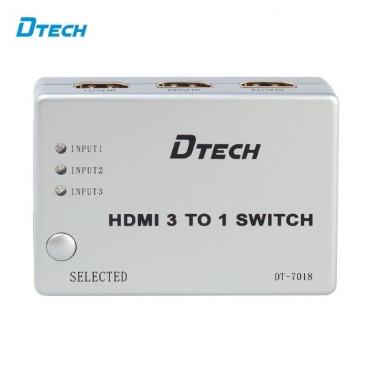Switcher HDMI 3 TO 1 DTECH DT-7018